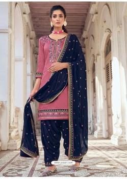 Pink Embroidered Designer Jam Silk Punjabi Patiala Suit