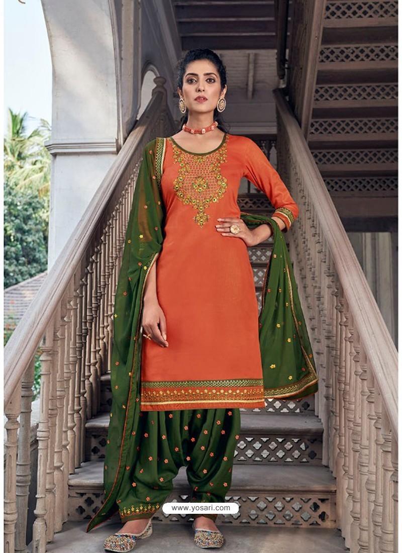 Orange Embroidered Designer Jam Silk Punjabi Patiala Suit