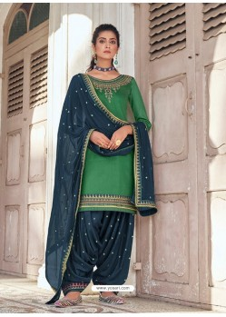 Forest Green Embroidered Designer Jam Silk Punjabi Patiala Suit