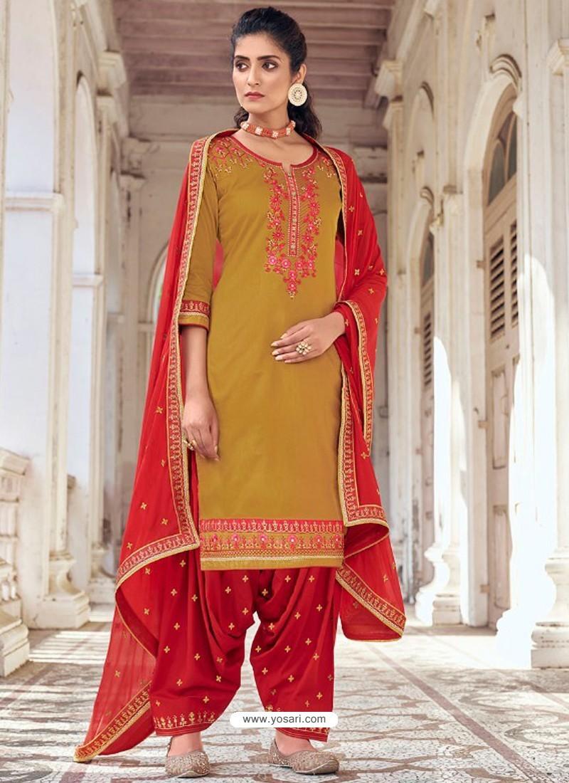 Mustard Embroidered Designer Jam Silk Punjabi Patiala Suit