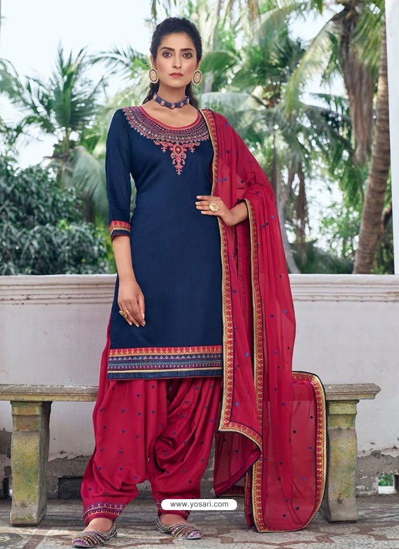 Dark Blue Embroidered Designer Jam Silk Punjabi Patiala Suit