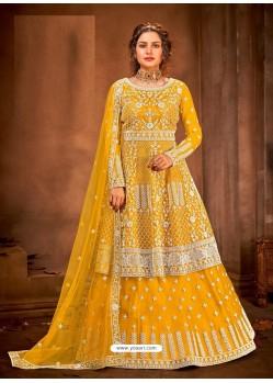 Yellow Latest Designer Party Wear Wedding Suit