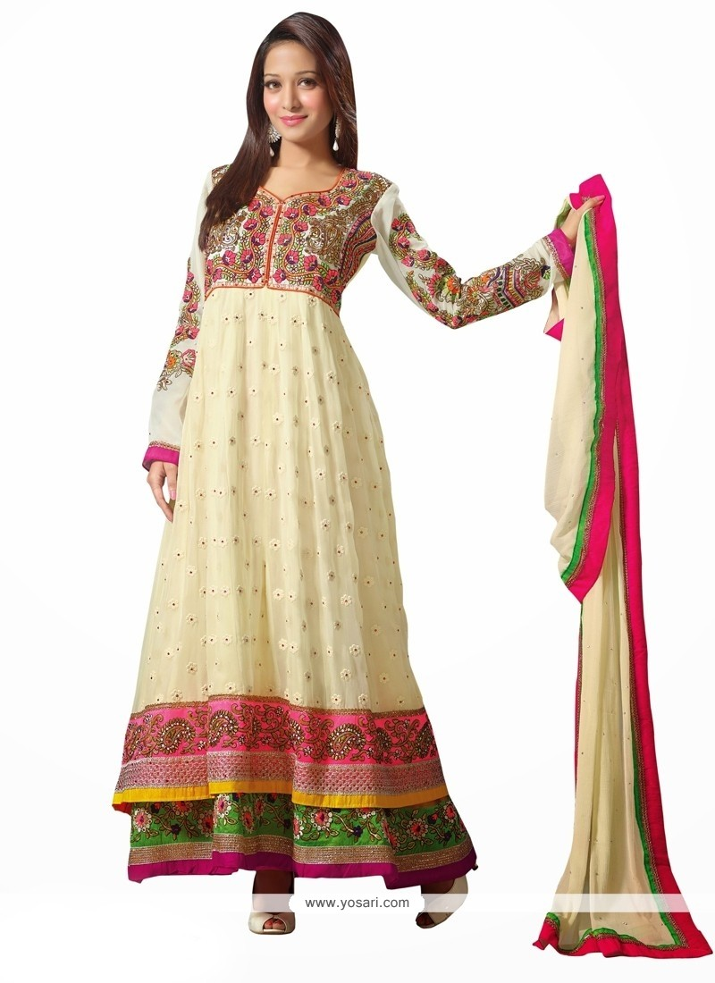 Cream Georgette Anarkali Salwar Kameez