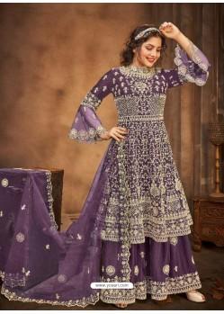 Purple Latest Designer Party Wear Wedding Suit