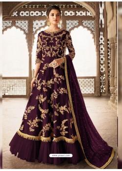 Purple Bridal Designer Party Wear Net Anarkali Suit