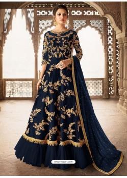 Navy Blue Bridal Designer Party Wear Net Anarkali Suit