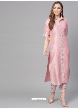 Baby Pink Designer Readymade Kurti Bottom Set