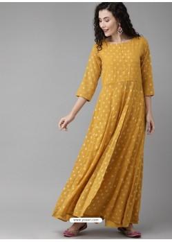 Mustard Designer Readymade Kurti Bottom Set