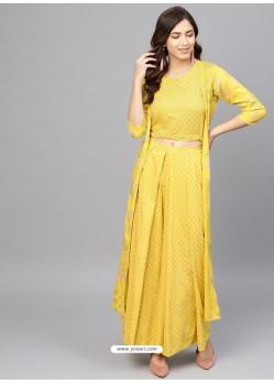 Yellow Designer Readymade Kurti Bottom Set