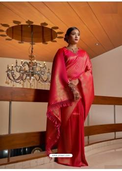 Dark Peach Designer Classic Wear Raw Silk Sari