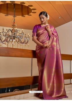 Magenta Designer Classic Wear Raw Silk Sari