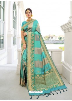Sky Blue Designer Classic Wear Silk Sari