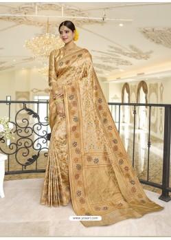 Gold Designer Classic Wear Silk Sari