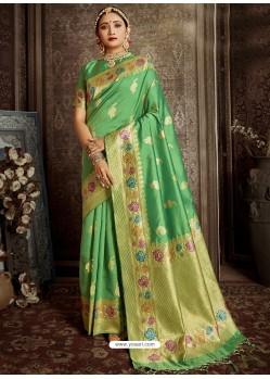 Green Designer Classic Wear Silk Sari