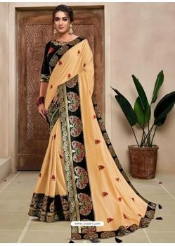 Cream Designer Traditional Wear Silk Sari