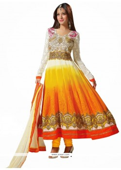Off White And Orange Shaded Zari Anarkali Suits
