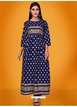 Dark Blue Readymade Latest Long Gown Kurti