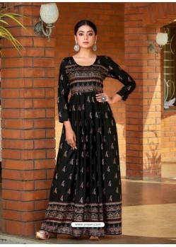Black Readymade Latest Long Gown Kurti