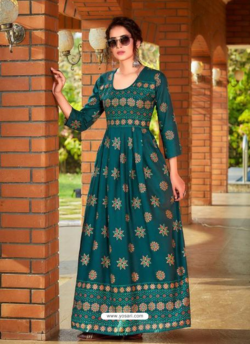 Teal Readymade Latest Long Gown Kurti