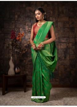 Parrot Green Designer Classic Wear Raw Silk Sari