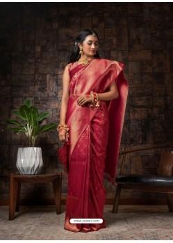 Maroon Designer Classic Wear Raw Silk Sari