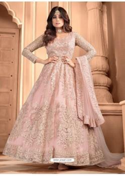 Baby Pink Bridal Designer Party Wear Butterfly Net Anarkali Suit