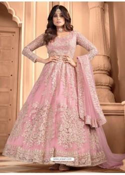 Pink Bridal Designer Party Wear Butterfly Net Anarkali Suit