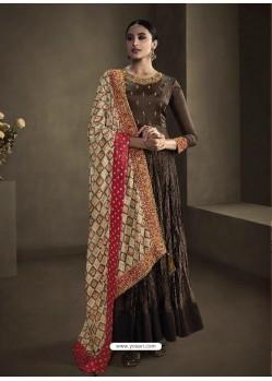 Coffee Latest Designer Party Wear Anarkali Suit