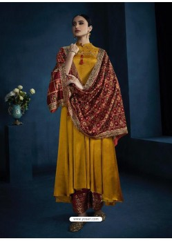 Yellow Latest Designer Party Wear Anarkali Suit