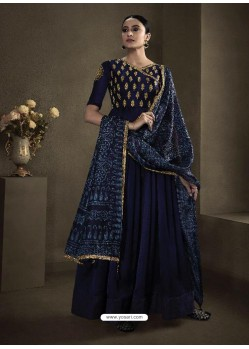 Navy Blue Latest Designer Party Wear Anarkali Suit