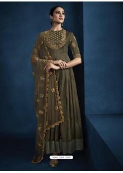 Copper Latest Designer Party Wear Anarkali Suit
