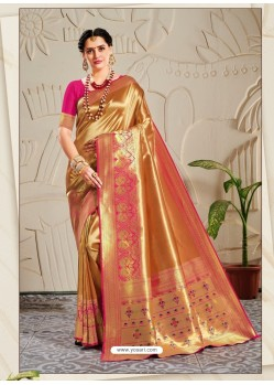 Gold Designer Traditional Wear Banarasi Silk Sari