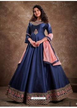 Dark Blue Readymade Latest Designer Party Wear Anarkali Suit