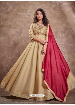 Light Beige Readymade Latest Designer Party Wear Anarkali Suit