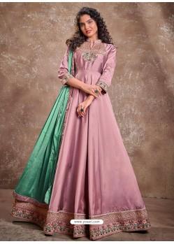 Dusty Pink Readymade Latest Designer Party Wear Anarkali Suit