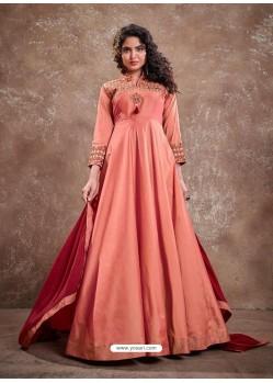 Light Orange Readymade Latest Designer Party Wear Anarkali Suit