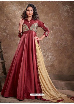 Maroon Readymade Latest Designer Party Wear Anarkali Suit
