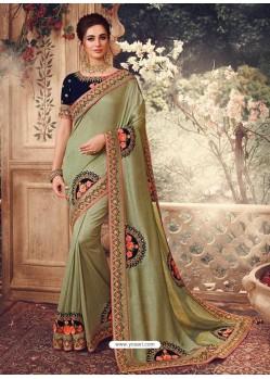 Olive Green Latest Designer Party Wear Sari