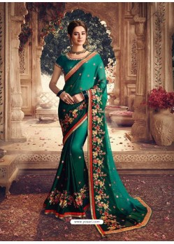 Teal Latest Designer Party Wear Sari