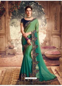 Green Latest Designer Party Wear Sari