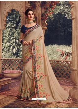 Light Beige Latest Designer Party Wear Sari