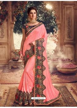 Peach Latest Designer Party Wear Sari