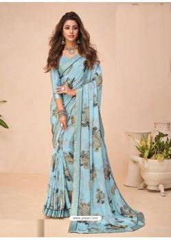 Aqua Grey Designer Casual Wear Crepe Sari