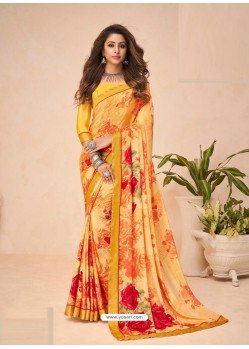 Orange Designer Casual Wear Crepe Sari