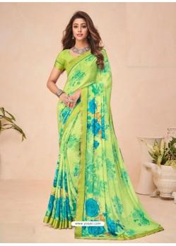 Green Designer Casual Wear Crepe Sari