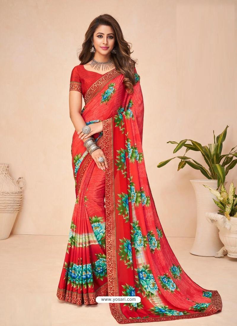 Red Designer Casual Wear Crepe Sari