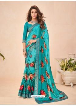 Turquoise Designer Casual Wear Crepe Sari