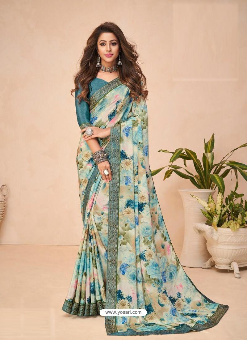 Multi Colour Designer Casual Wear Crepe Sari