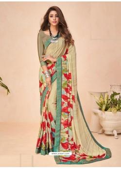 Light Beige Designer Casual Wear Crepe Sari