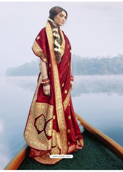 Maroon Latest Designer Party Wear Sari